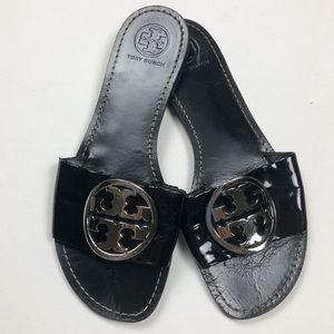 Tory Burch Grania Patent Black Slide Sandals 8.5